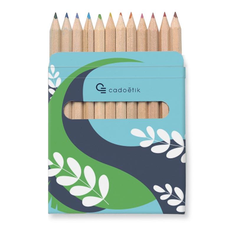 Etui 12 crayons de couleurs publicitaires