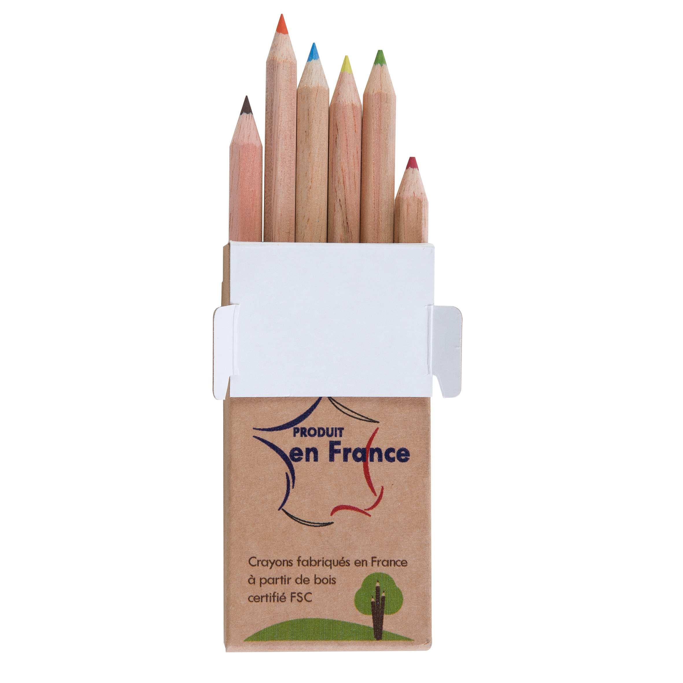 Goodies écologique   - étui de 6 crayons de couleur à personnaliser Eco 8,7 cm
