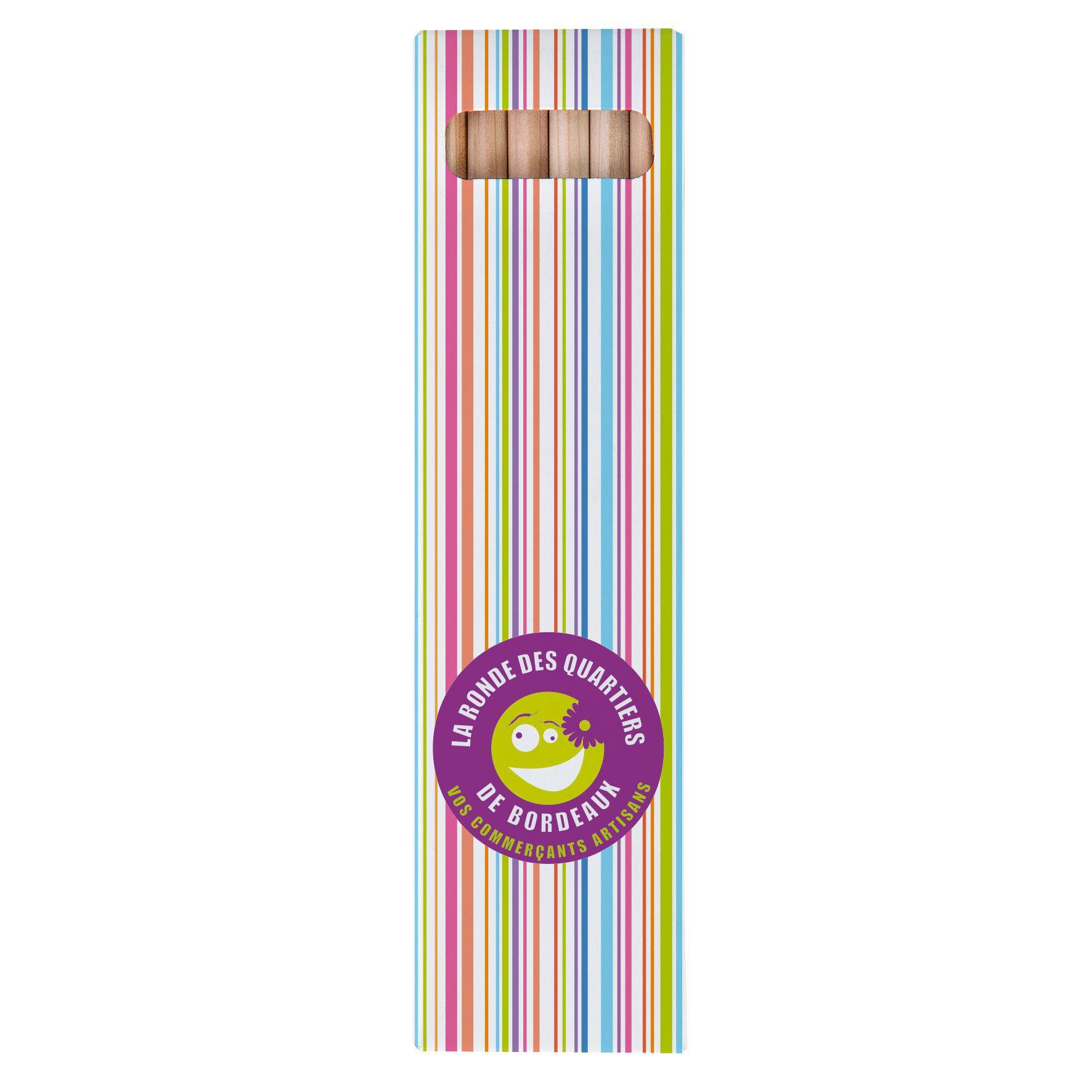 objet publicitaire écologique - étui 6 crayons couleur personalisable Eco