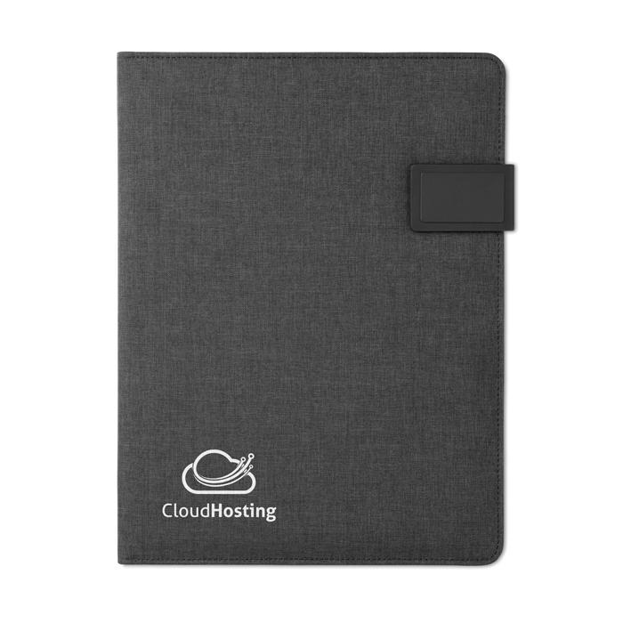 Cadeau d'entreprise - Conférencier A4 personnalisable et powerbank Powerfoldy