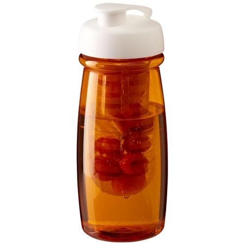 Gourde sport publicitaire et infuseur H2O Pulse® 600 ml avec couvercle à clapet - rouge