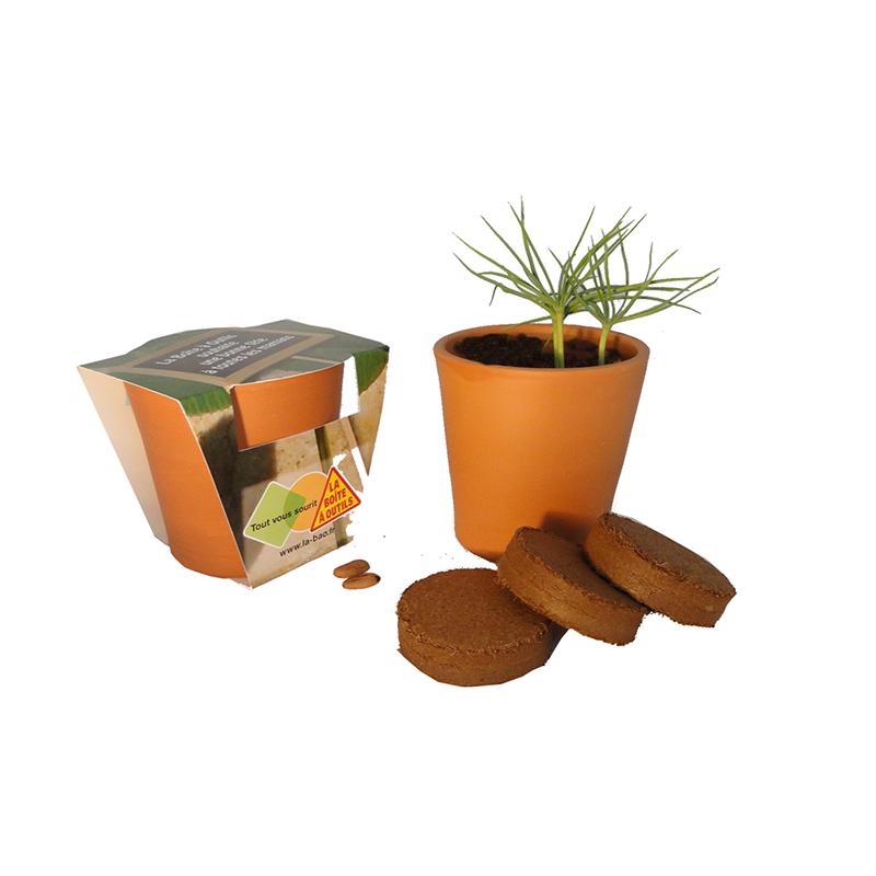 Cadeau publicitaire - Kit de plantation publicitaire Terre cuite