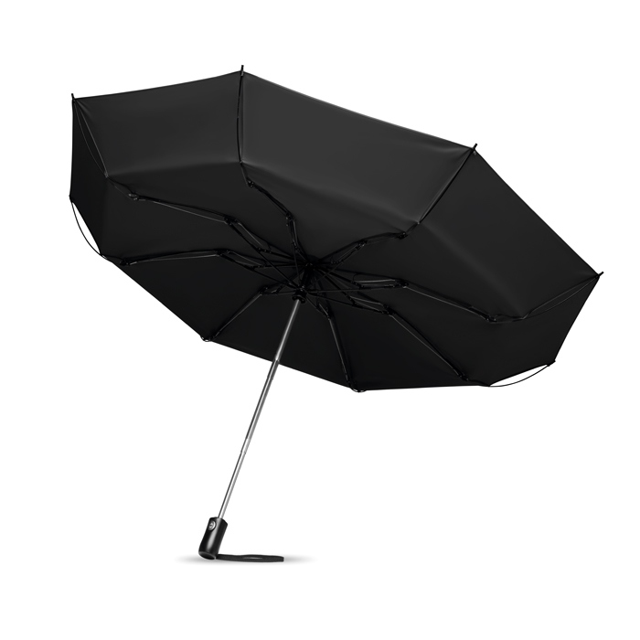 Parapluie publicitaire réversible pliable Dundee - Cadeau d'entreprise - noir
