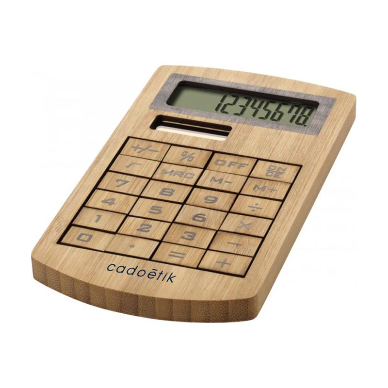 Calculatrice publicitaire en bambou Ecosol