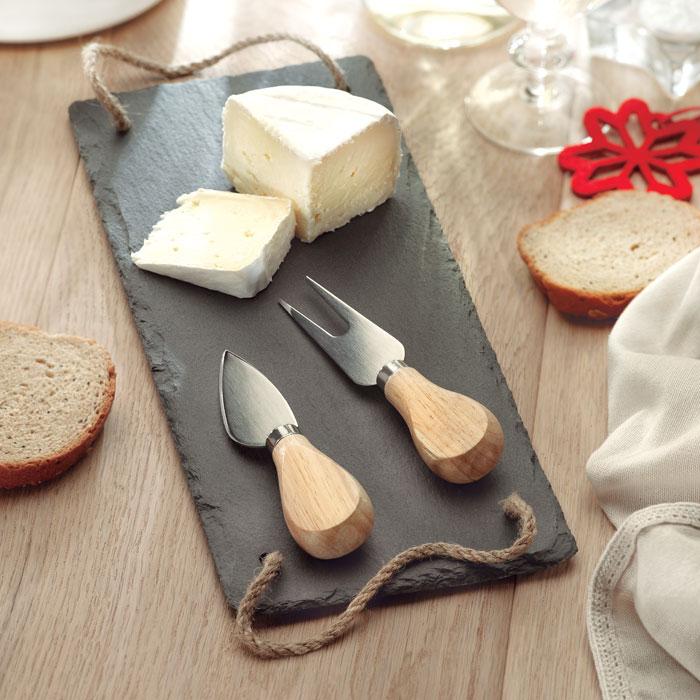 Cadeau d'entreprise cuisine - Plateau à fromage publicitaire ardoise Rimini