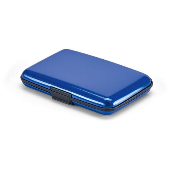 Porte-cartes promotionnel Case bleu - porte-cartes publicitaire