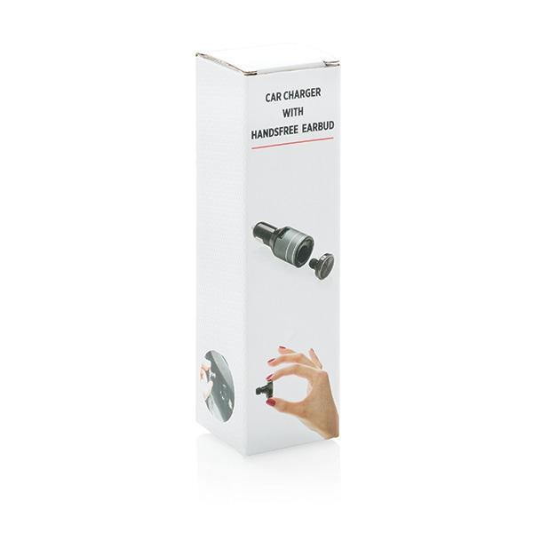 Chargeur de voiture publicitaire avec oreillette Bluetooth® mains libres Sonnmee  - Cadeau d'entreprise