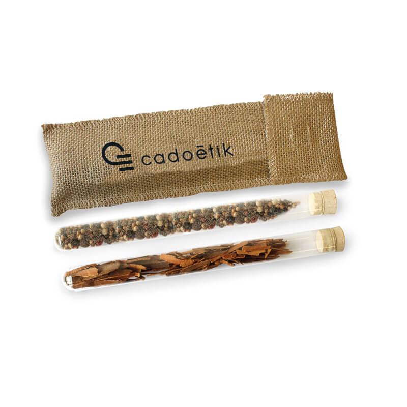 Goodies écologique - Etui dégustation épices bio avec tubes et pochon