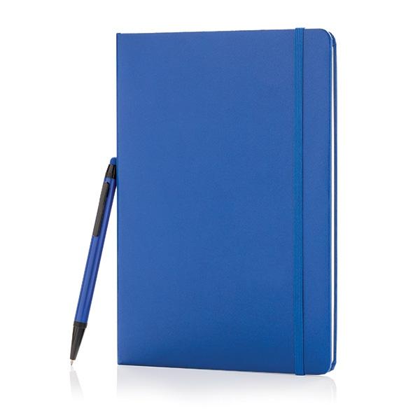 Carnet publicitaire A5 Basil et stylet - bleu