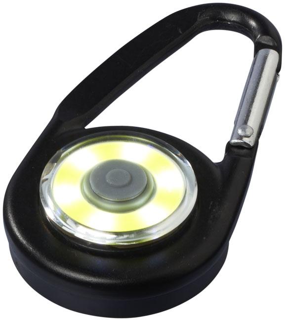 Mousqueton avec lampe publicitaire COB Eye noir