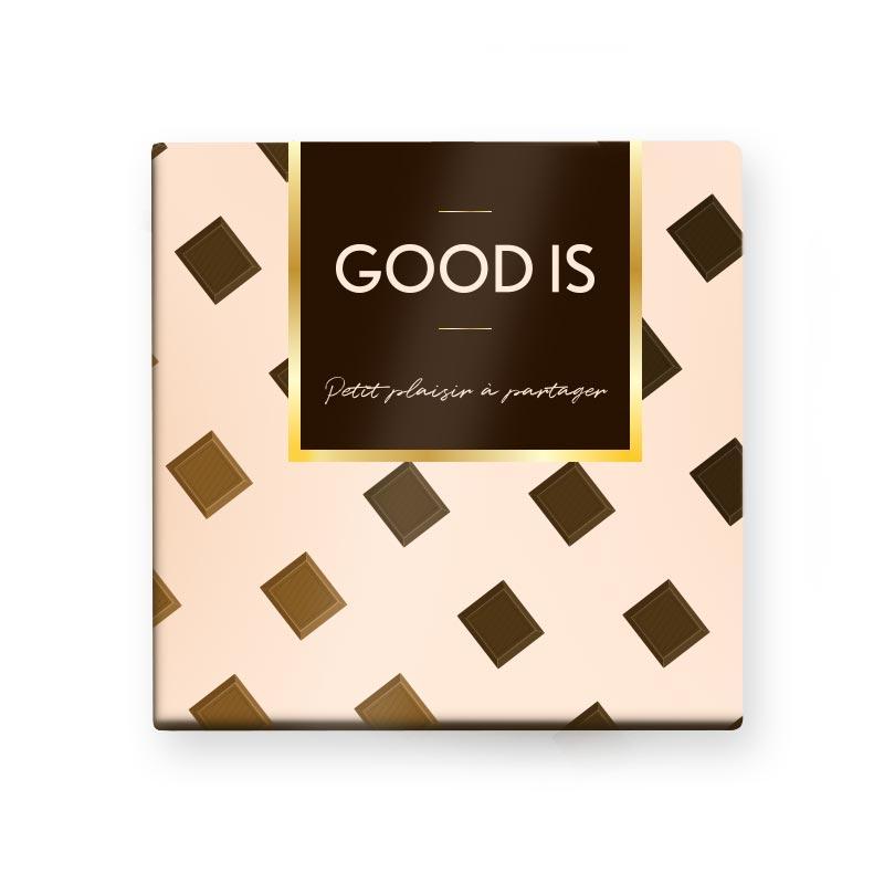 Cadeau d'entreprise gourmand - Carte 9 carrés de chocolat quadri