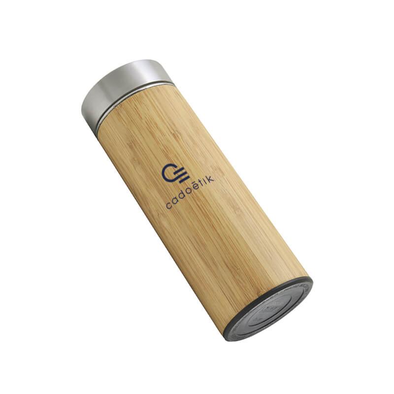 Bouteille publicitaire - Bouteille isotherme Tea Time en bambou avec infuseur, 450ml