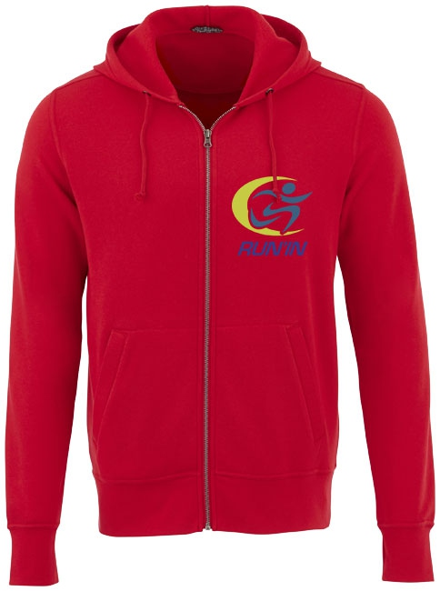 Sweater publicitaire à capuche full zip Cypress rouge
