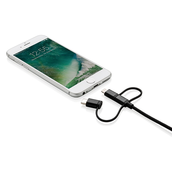 Accessoire personnalisé - Câble 3 en 1 sous licence MFI Triple
