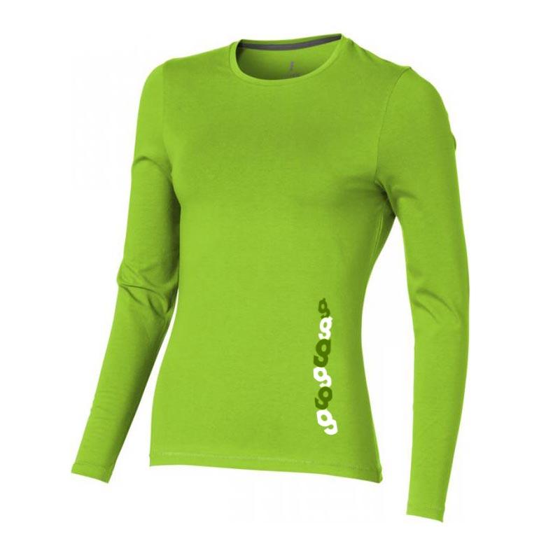 T-shirt bio publicitaire pour femmes manches longues Ponoka  vert - cadeau d'entreprise écologique