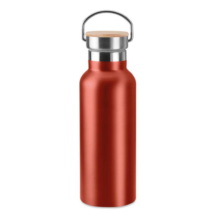 Bouteille isotherme publicitaire acier rouge Helsinki - bouteille à personnaliser en acier