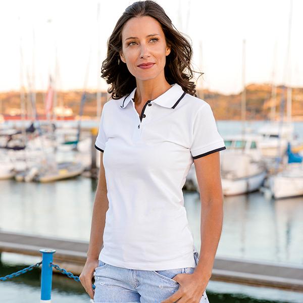 Polo publicitaire slim fit pour femme Rome Women blanc - textile publicitaire