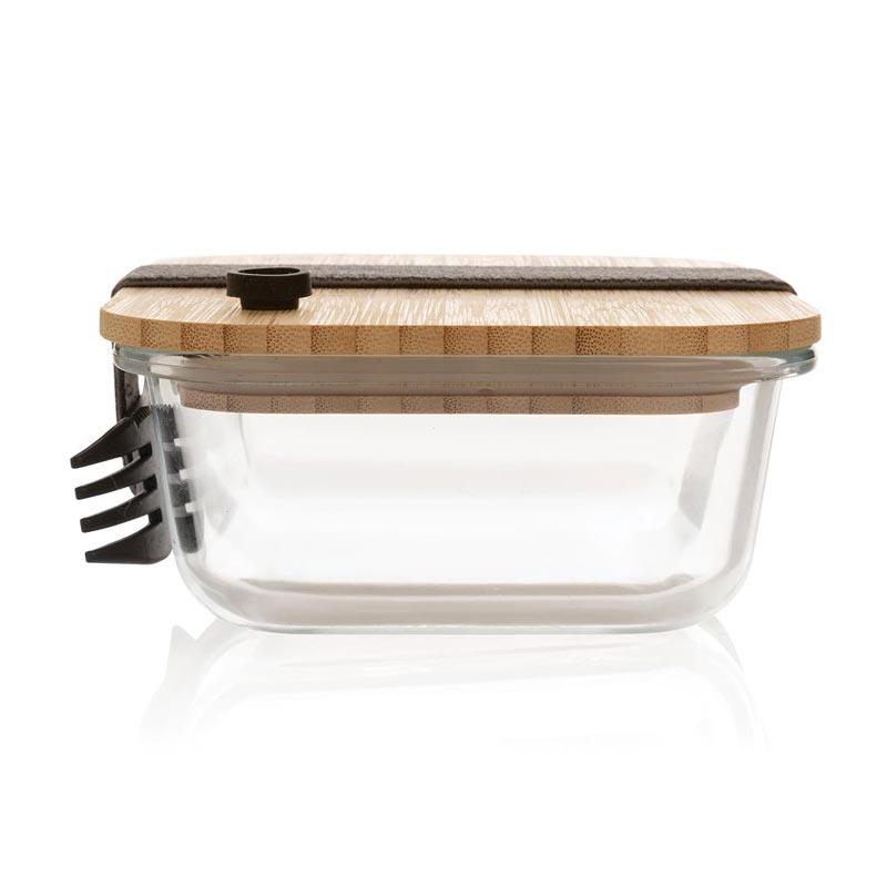 Lunch box publicitaire en verre et couvercle en bambou - coté