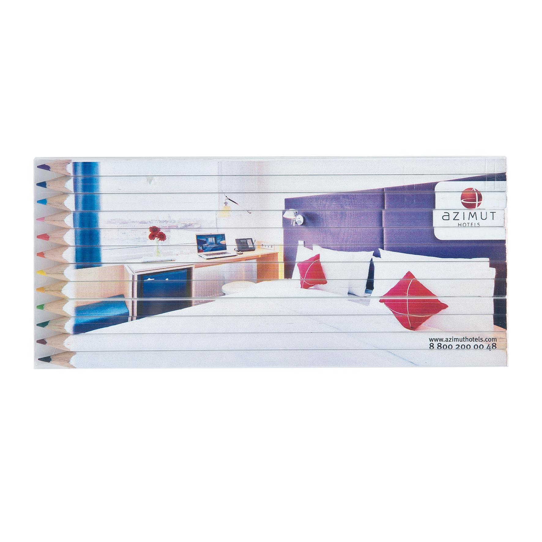 Set crayons de couleurs publicitaire personnalisé en quadri Eco 17,6 - goodies ecoresponsable