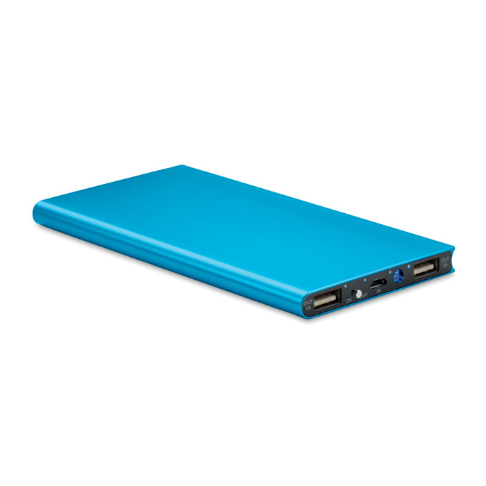 Batterie de secours publicitaire bleue 8000mAh Powerflat8