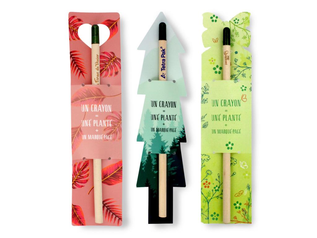 Crayon à papier  avec marque-page personnalisable à la découpe