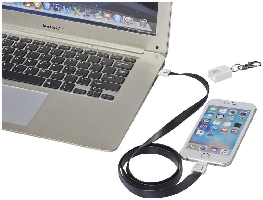 Câble de chargement personnalisé 2 en 1 avec clip Collar - accessoire high-tech publicitaire