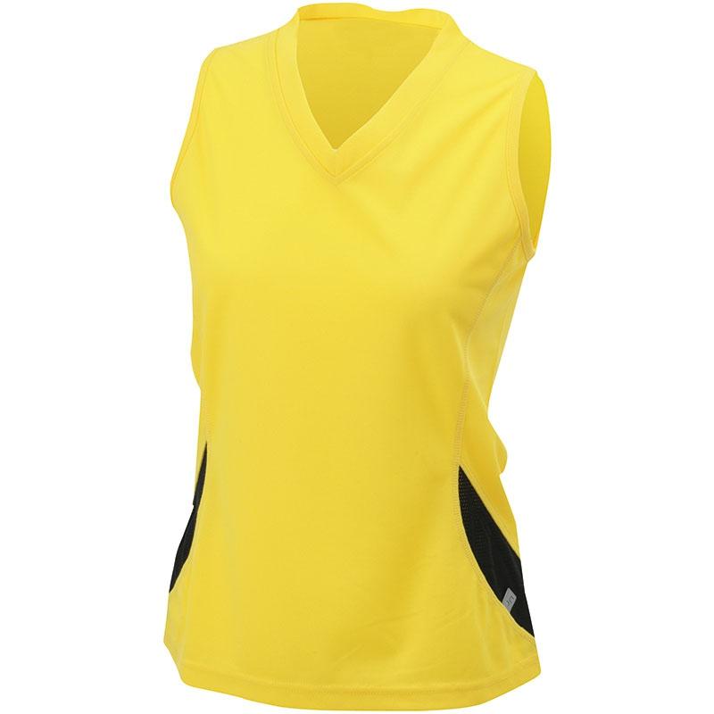 Tee-shirt personnalisable sans manches pour femme Running Topcool orange/noir - t-shirt personnalisable