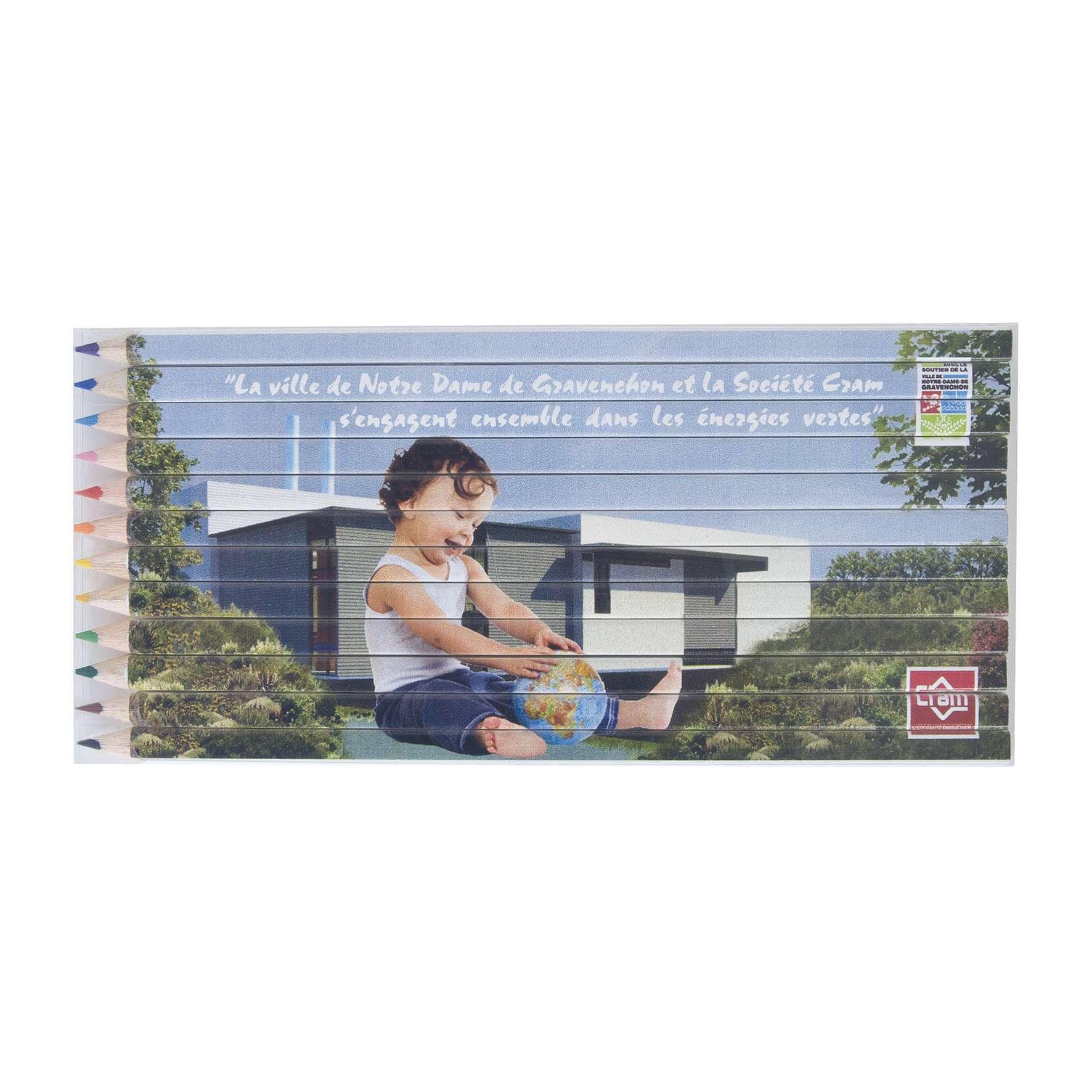 cadeau publicitaire écologique - set 12 crayons publicitaires Eco quadri puzzle