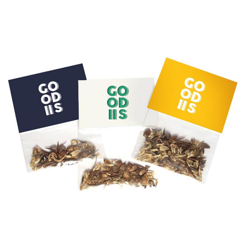 Goodies green - Sachet transparent d'épices Bio avec cavalier
