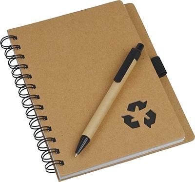 Bloc-notes publicitaire écologique en papier recyclé et stylo ECO
