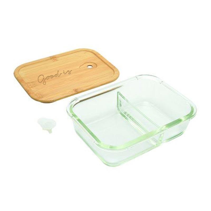 Lunch box personnalisée en verre ouverte - 2 compartiments