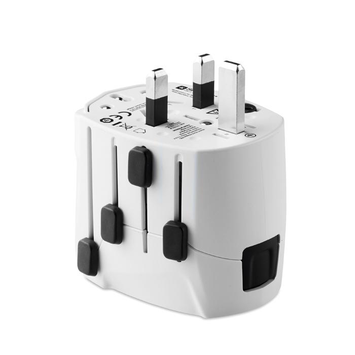 Cadeau d'entreprise - Adapateur universel personnalisé PRO World & USB 3-pole