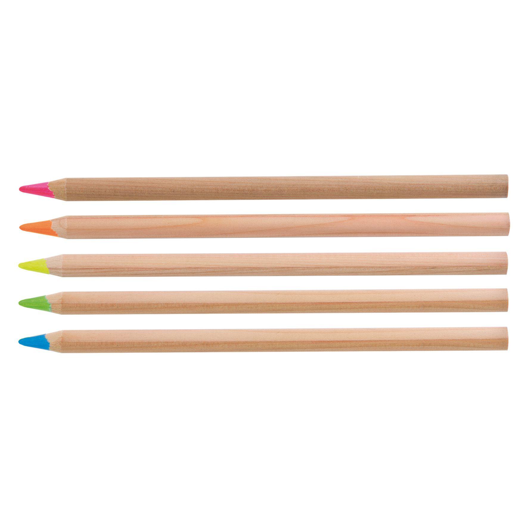 Surligneur en bois publicitaire naturel - crayon fluo publicitaire 1 mine fluo L 17,6 cm