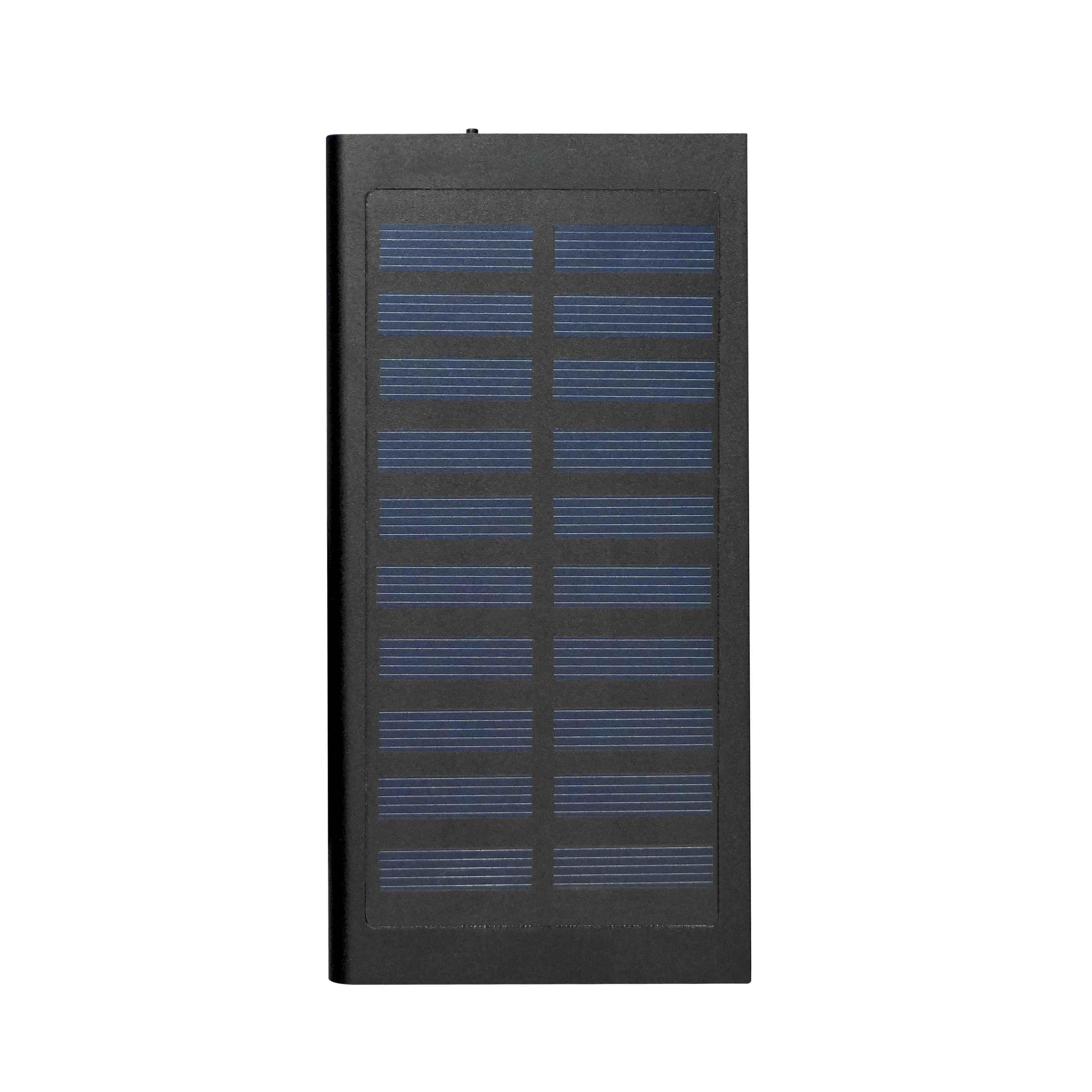 Chargeur solaire publicitaire Sunpower noir - powerbank personnalisable