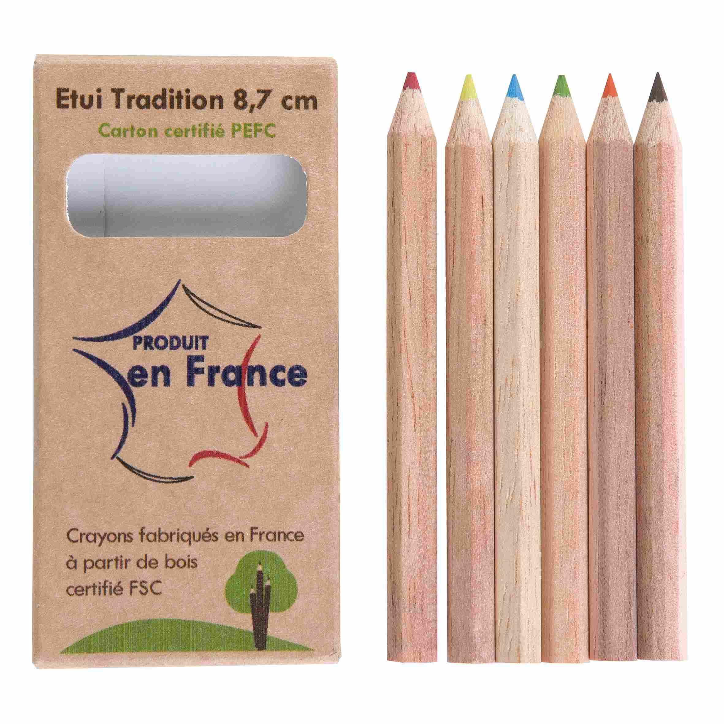 objet publicitaire écologique - étui de 6 crayons de couleur Eco 8,7 cm