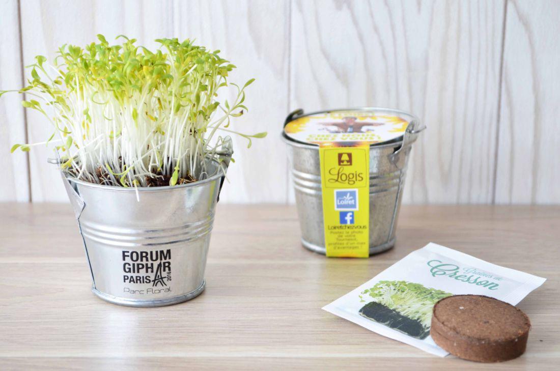Kit de semis mini pot zinc 6cm - kit de plantation publicitaire