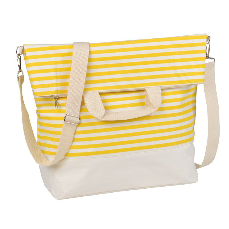 Sac shopping personnalisable rayures grises Juist - sac de plage publicitaire style marin
