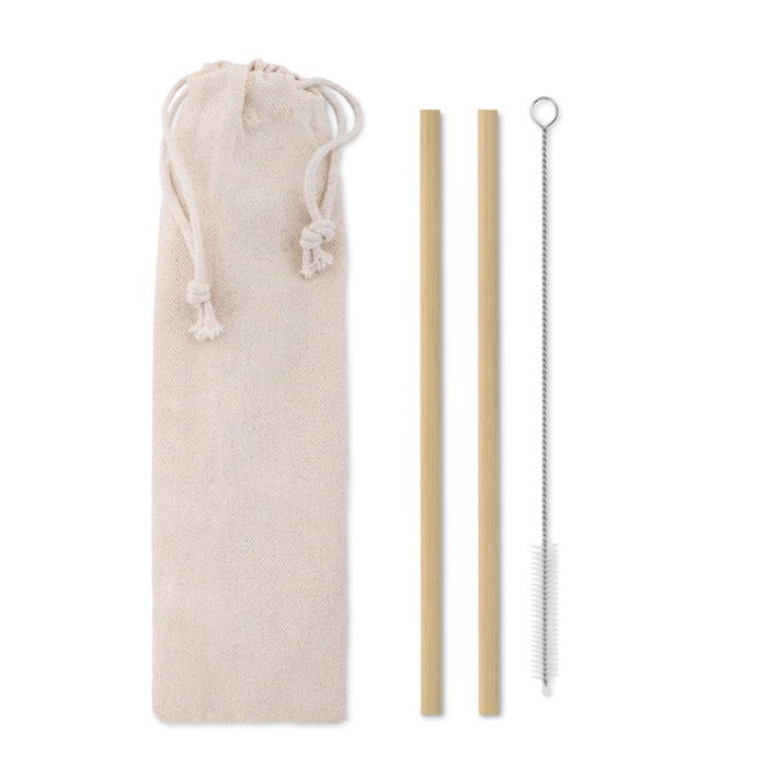 goodies écologique - Paille bambou personnalisable avec brosse NATURAL STRAW