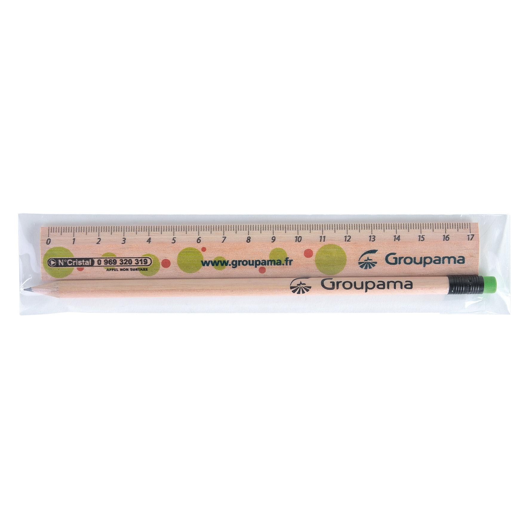 Cadeau publicitaire écologique - Kit règle et crayon à papier publicitaire Eco 2