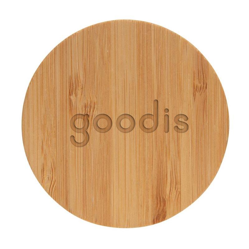 Gravure logo sur couvercle en bambou de la bouteille publicitaire Impact