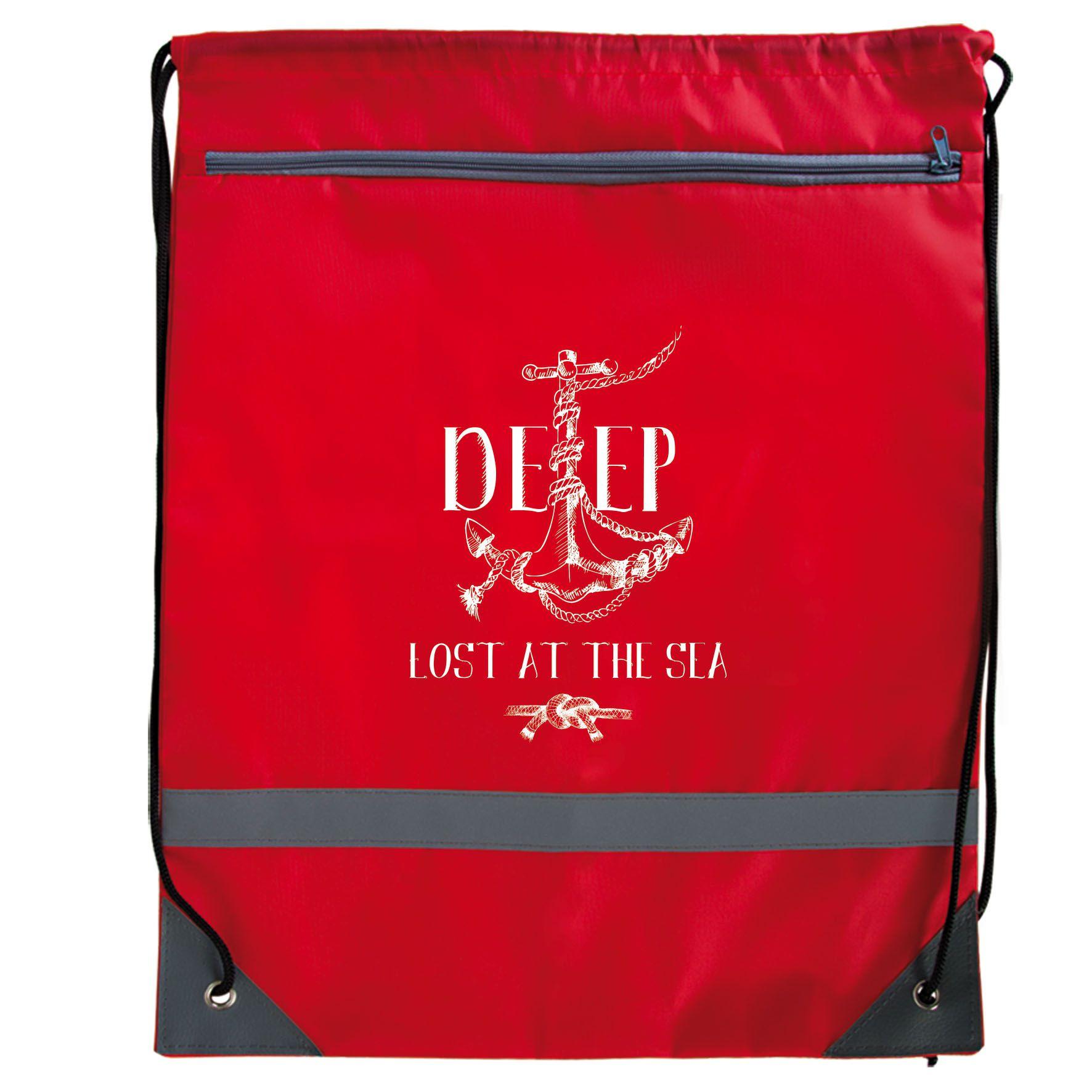 Sac à dos ficelle publicitaire avec zip - rouge