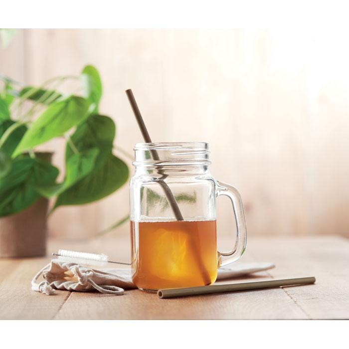 goodies écoresponsable - paille en bambou publicitaire avec brosse Straw