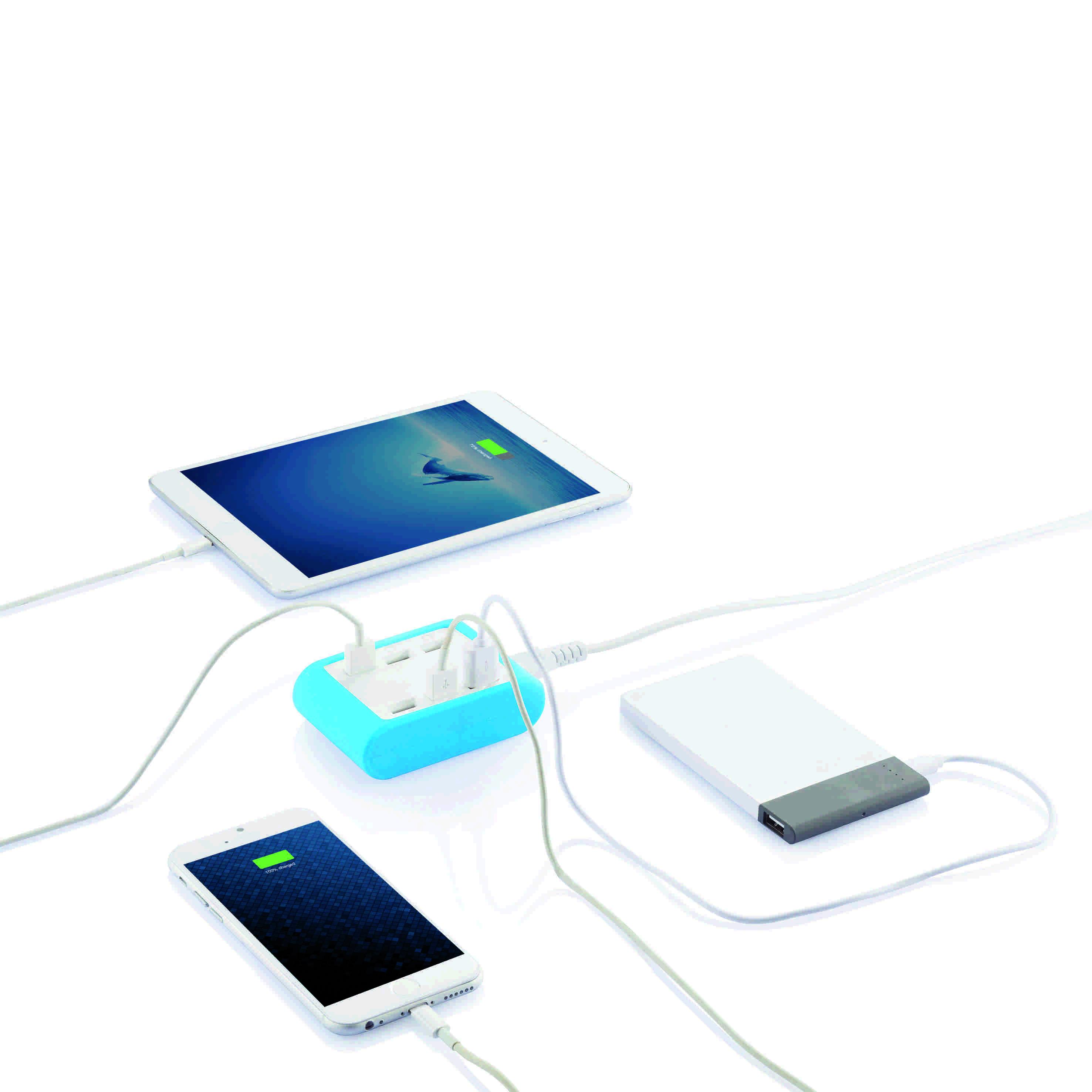 Station de recharge publicitaire 6 ports USB TOP bleu