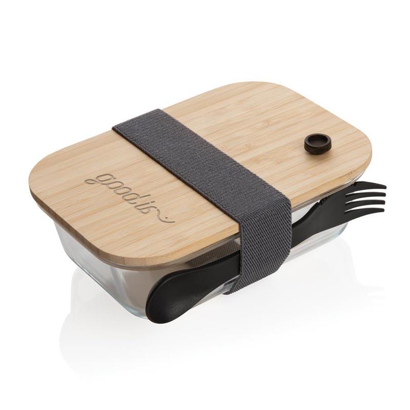 Lunch box publicitaire en verre et couvercle en bambou - marquage gravure