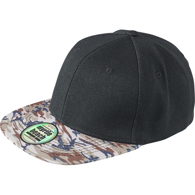 Casquette publicitaire Streetwear noire - visière motif camouflage