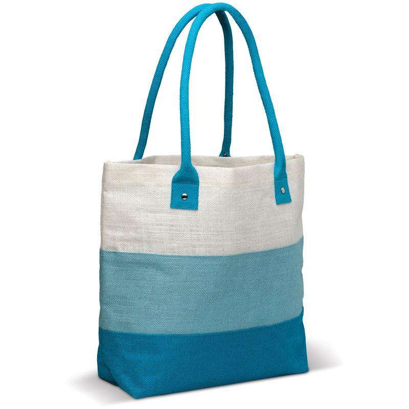 Cadeau publicitaire écologique - Sac en jute personnalisable Eloi bleu