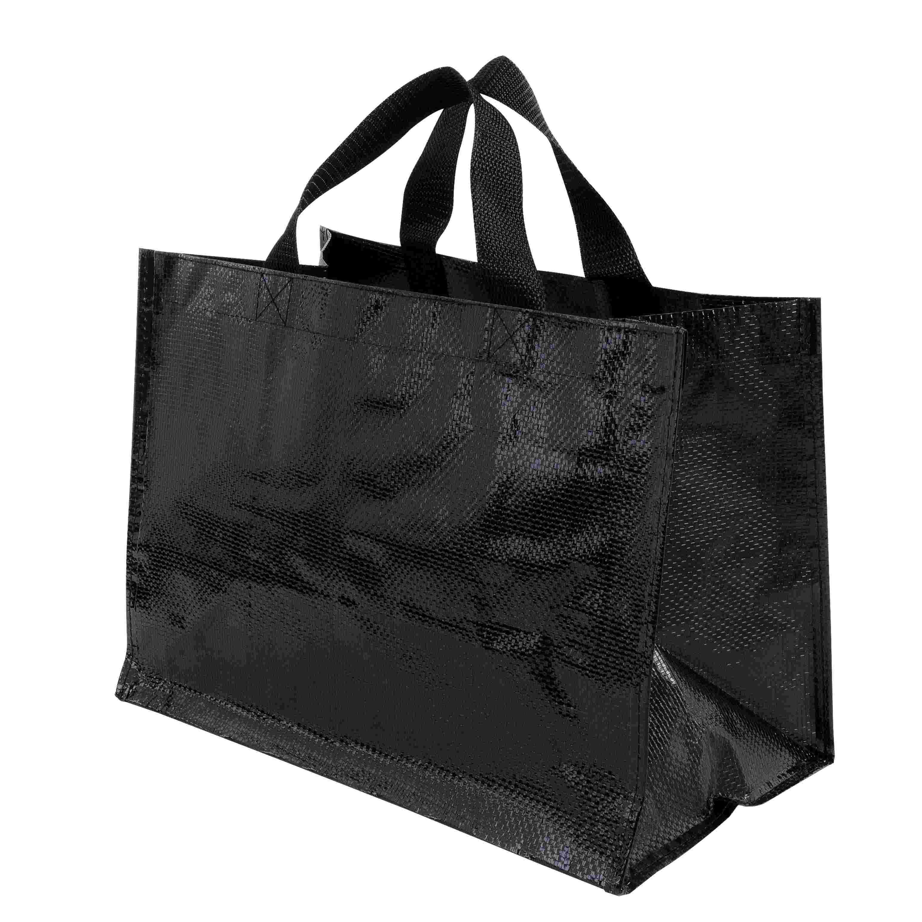 Sac shopping publicitaire PP tissé Horizon - Cadeau publicitaire - noir