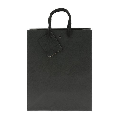 sac personnalisé en kraft noir mat avec cartonnette message Luxe - sac publicitaire en papier