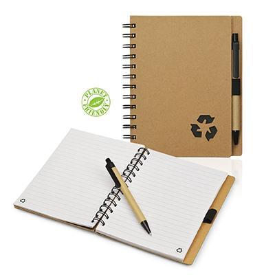 Bloc-notes publicitaire écologique et stylo bille Eco - cadeau publicitaire écologqiue