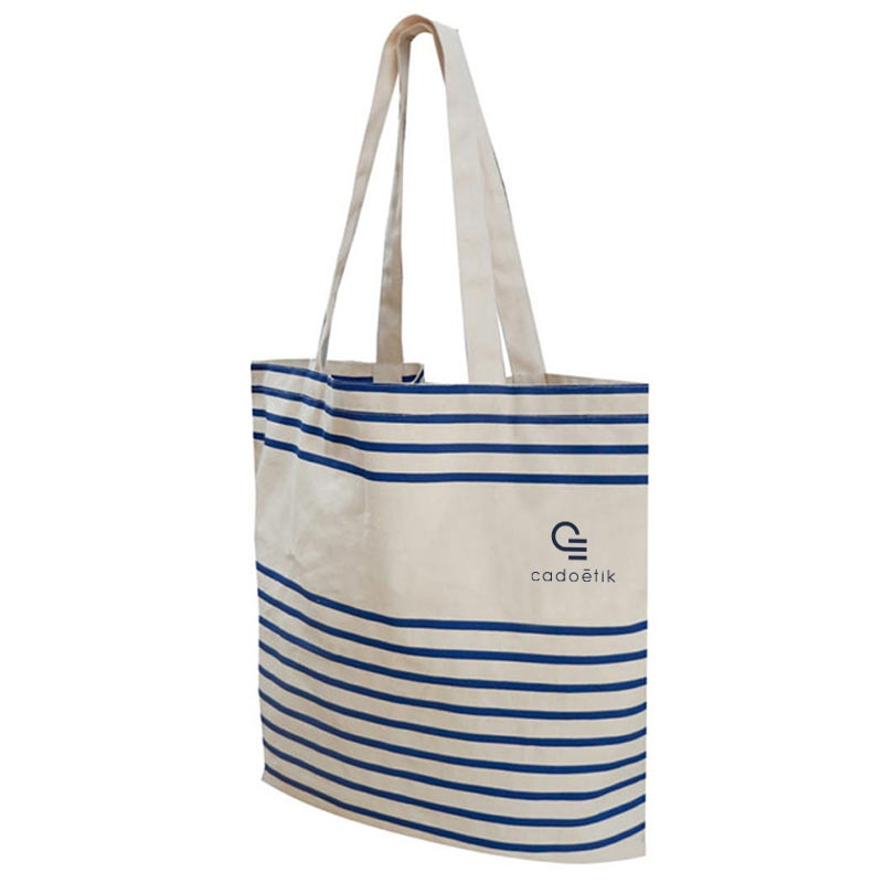 Totebag personnalisable Striped - sac shopping publicitaire à rayures
